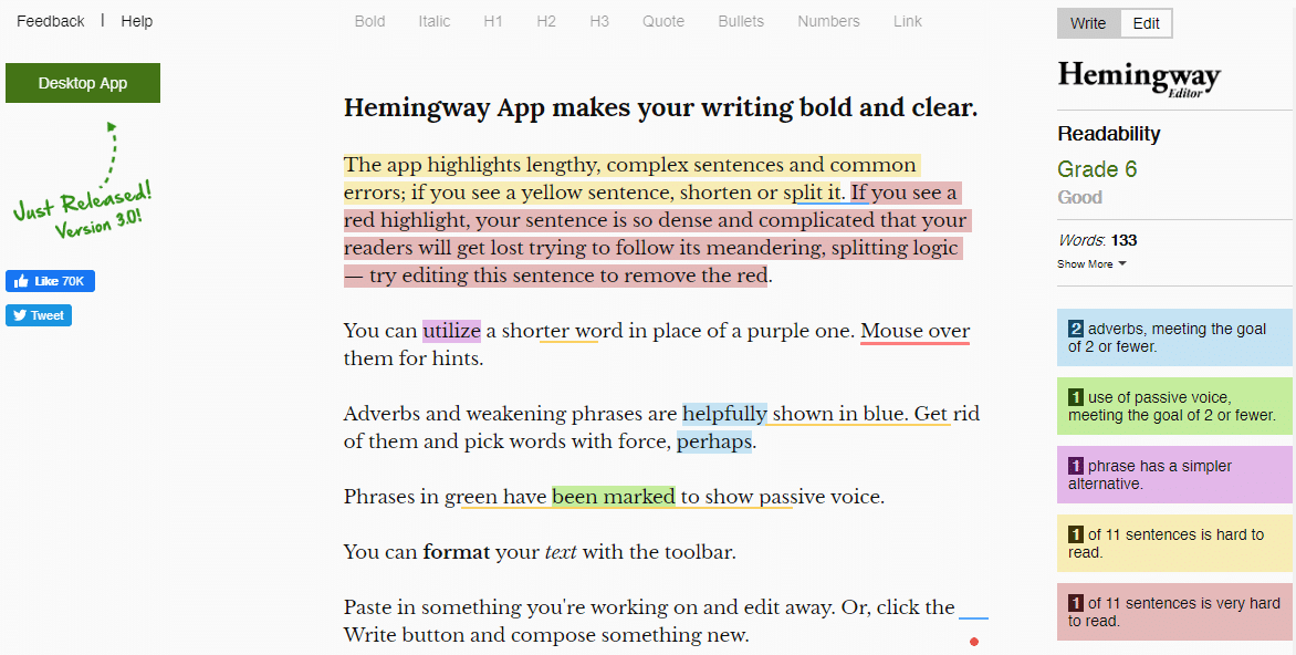 hemmingway blog post writing